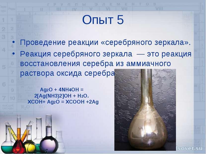 Опыт 5 Проведение реакции «серебряного зеркала». Реакция серебряного зеркала ...
