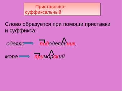 Приставочно-суффиксальный Слово образуется при помощи приставки и суффикса: о...