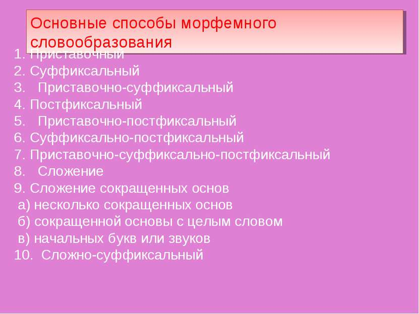 Основные способы морфемного словообразования Приставочный Суффиксальный 3. Пр...
