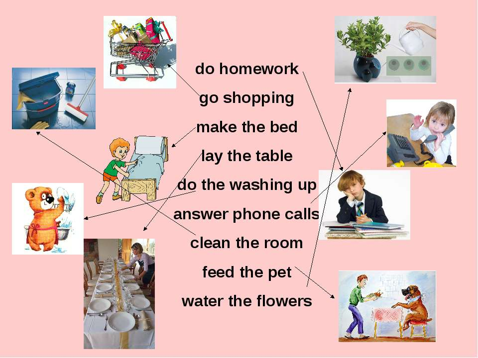 do homework go shopping make the bed lay the table do the washing up answer p...