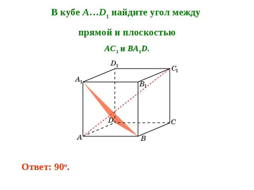 В кубе A…D1 найдите угол между прямой и плоскостью AC1 и BA1D. Ответ: 90o.