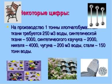 Некоторые цифры: На производство 1 тонны хлопчатобумажной ткани требуется 250...