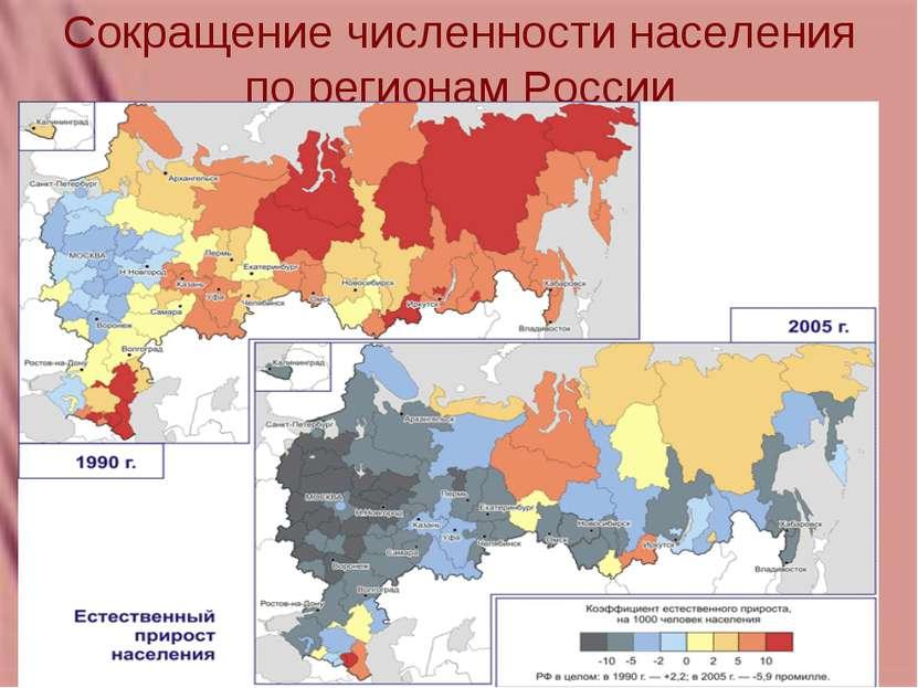 Сокращение численности населения по регионам России