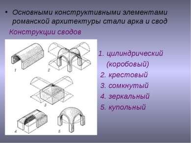 Основными конструктивными элементами романской архитектуры стали арка и свод ...