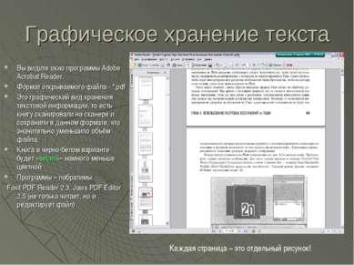 Графическое хранение текста Вы видите окно программы Adobe Acrobat Reader. Фо...
