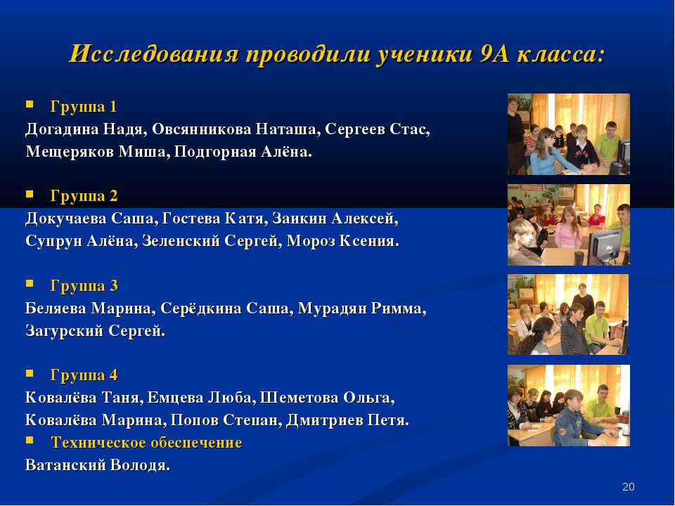 * Исследования проводили ученики 9А класса: Группа 1 Догадина Надя, Овсяннико...