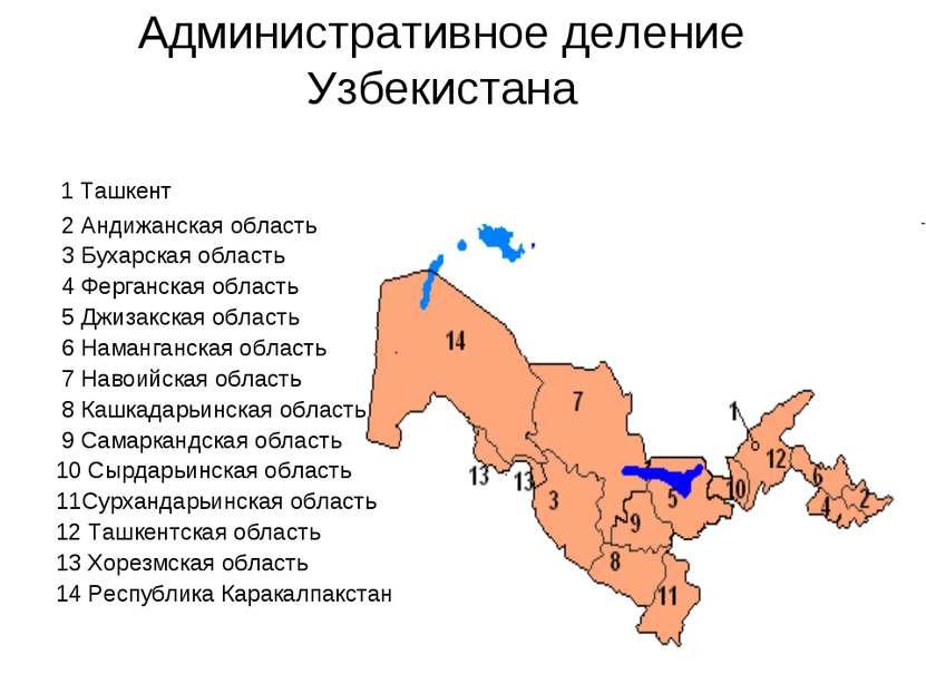 Административное деление Узбекистана 1 Ташкент 2 Андижанская область 3 Бухарс...