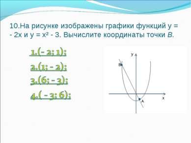 10.На рисунке изображены графики функций у = - 2х и у = х² - 3. Вычислите коо...