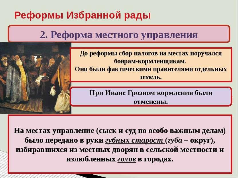 Реформы Избранной рады 2. Реформа местного управления На местах управление (с...
