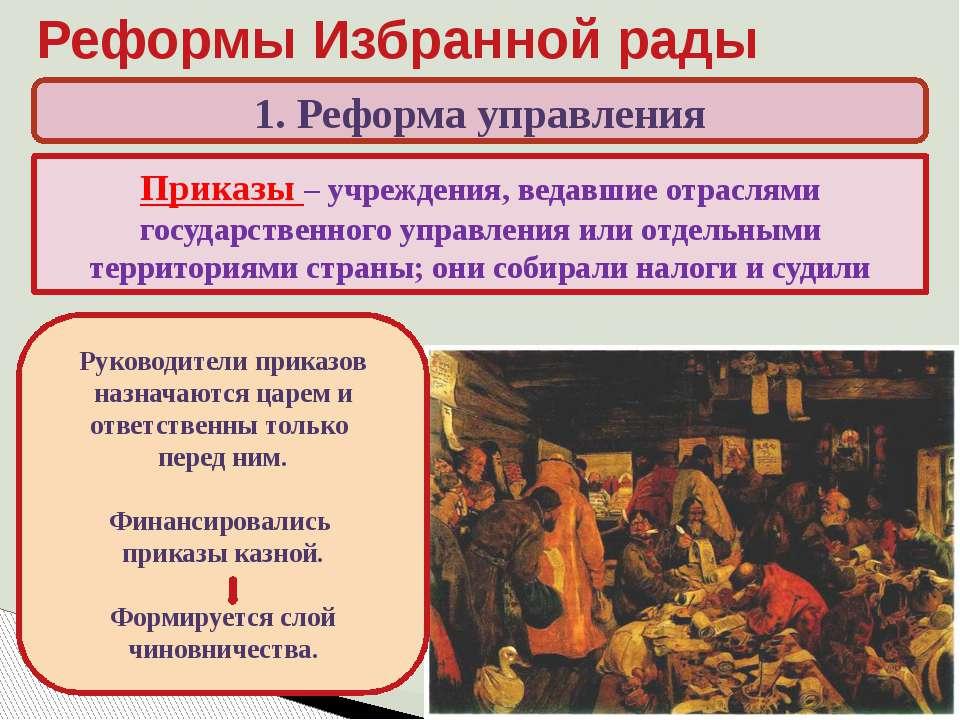 Реформы Избранной рады 1. Реформа управления Какие высшие органы управления с...