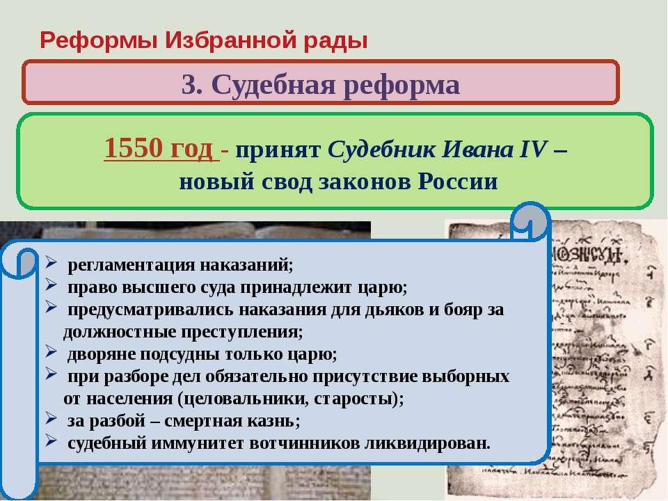 Реформы Избранной рады 3. Судебная реформа Когда и кем был принят свод законо...