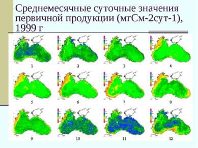 Среднемесячные суточные значения первичной продукции (мгСм-2сут-1), 1999 г