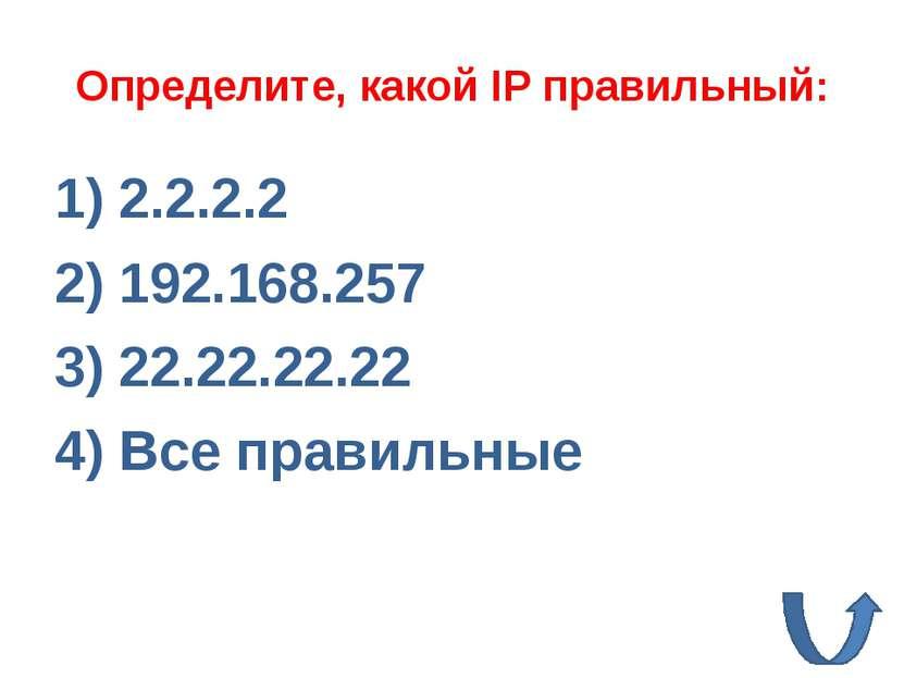 224.0.0.2 11.12.22.32 172.16.24.264 Все правильные Определите, какой IP непра...