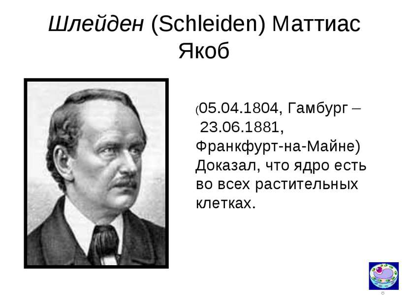 * Шлейден (Schleiden) Маттиас Якоб (05.04.1804, Гамбург – 23.06.1881, Франкфу...