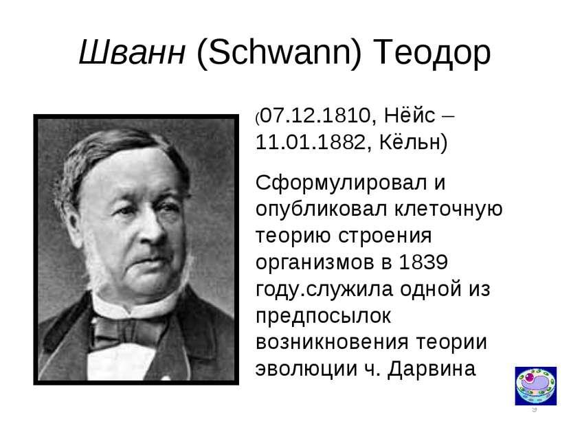 * Шванн (Schwann) Теодор (07.12.1810, Нёйс – 11.01.1882, Кёльн) Сформулировал...