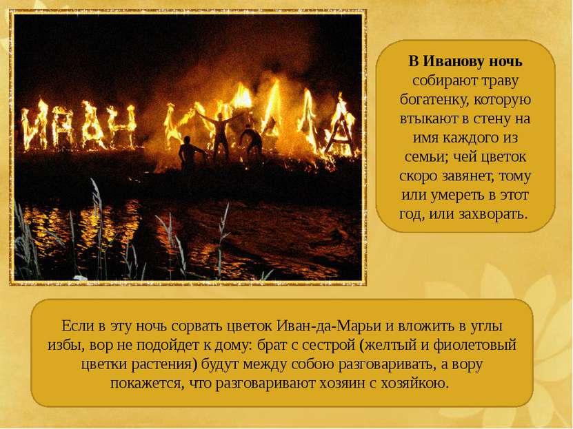В Иванову ночь собирают траву богатенку, которую втыкают в стену на имя каждо...