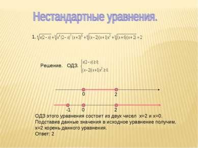 1. 0 2 2 -1 0 Решение. ОДЗ. ОДЗ этого уравнения состоит из двух чисел х=2 и х...