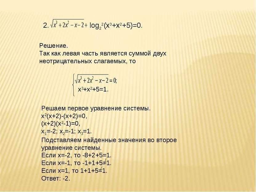 2. log22(х3+х2+5)=0. Решение. Так как левая часть является суммой двух неотри...