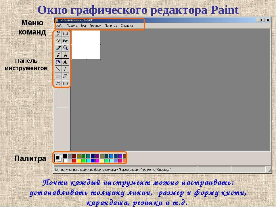 Окно графического редактора Paint Меню команд Панель инструментов Палитра Поч...
