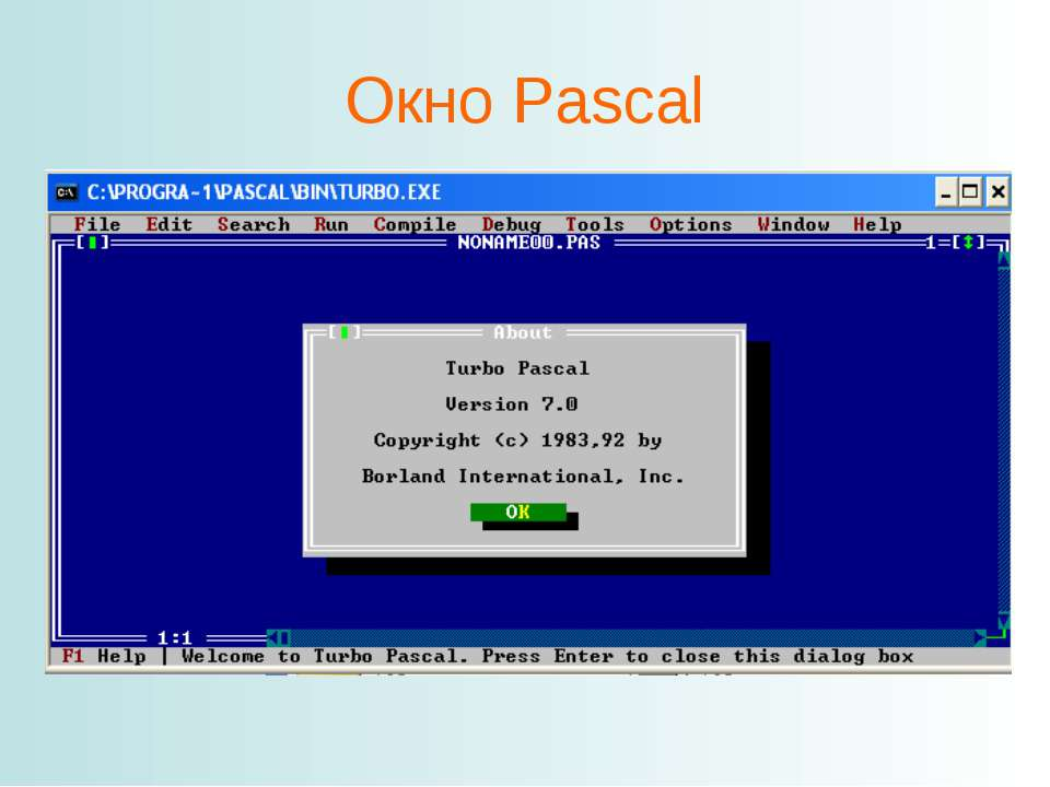 Окно Pascal