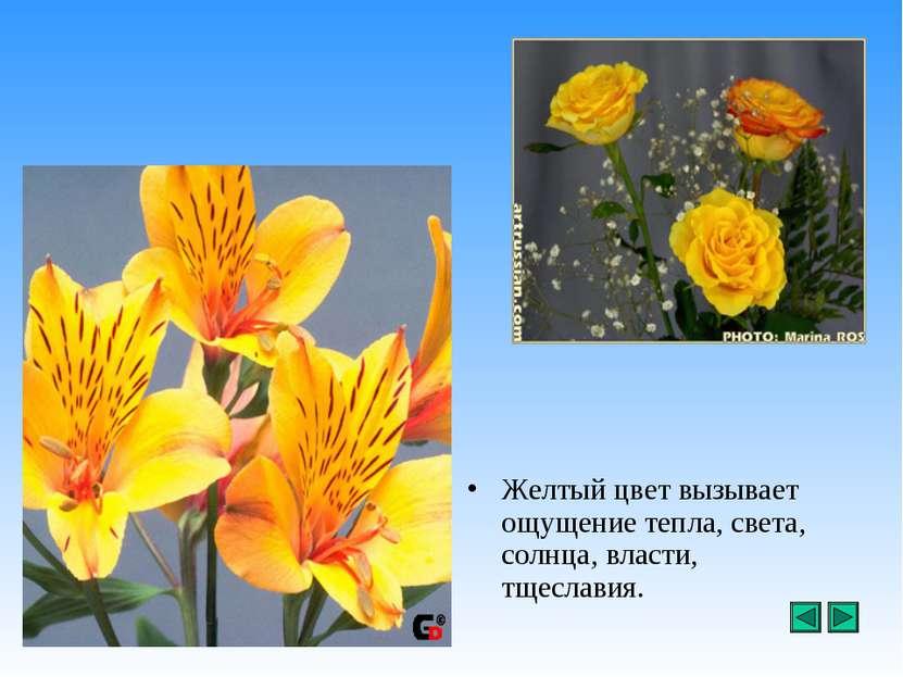 Желтый цвет вызывает ощущение тепла, света, солнца, власти, тщеславия.