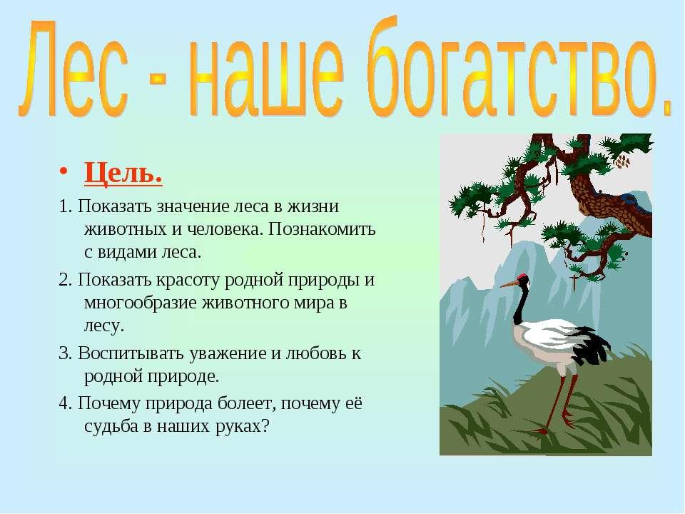 Цель. 1. Показать значение леса в жизни животных и человека. Познакомить с ви...