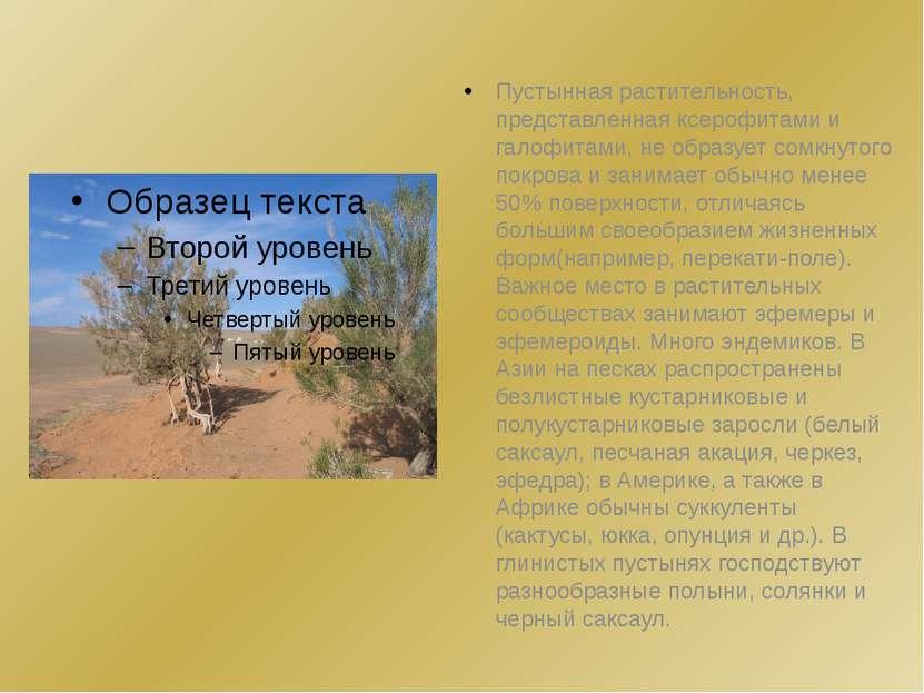 Пустынная растительность, представленная ксерофитами и галофитами, не образуе...