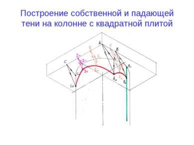 Построение собственной и падающей тени на колонне с квадратной плитой
