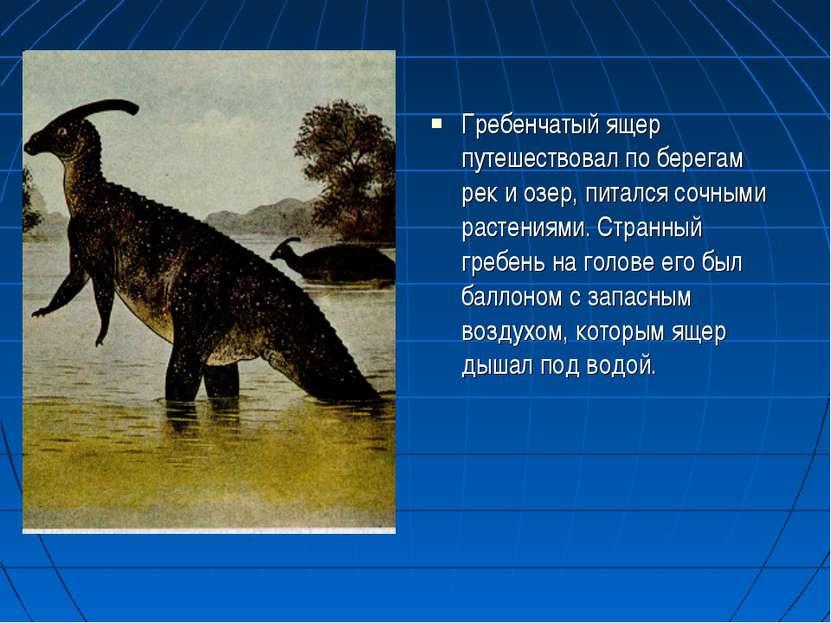 Гребенчатый ящер путешествовал по берегам рек и озер, питался сочными растени...