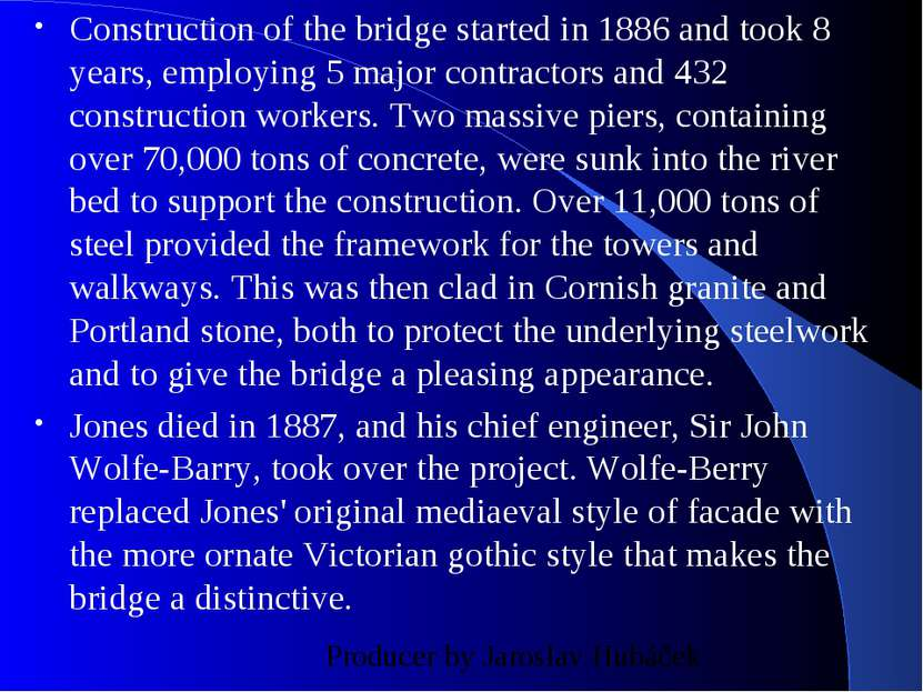 Construction of the bridge started in 1886 and took 8 years, employing 5 majo...
