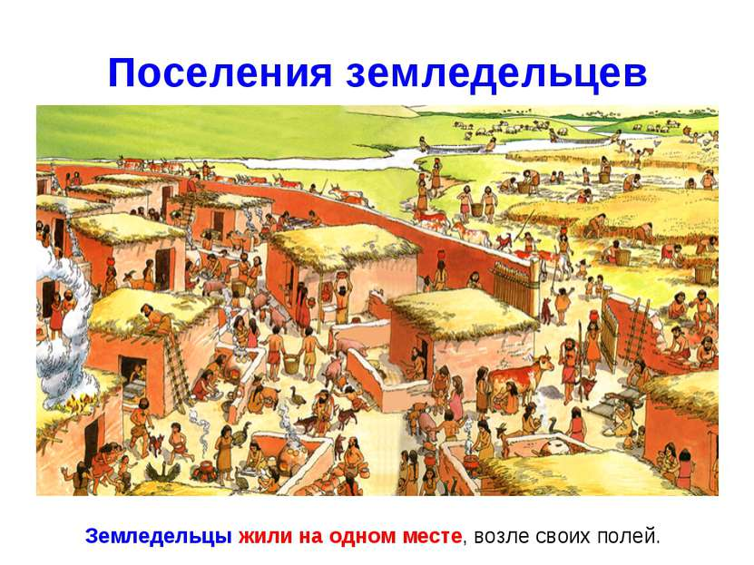 Поселения земледельцев Земледельцы жили на одном месте, возле своих полей.