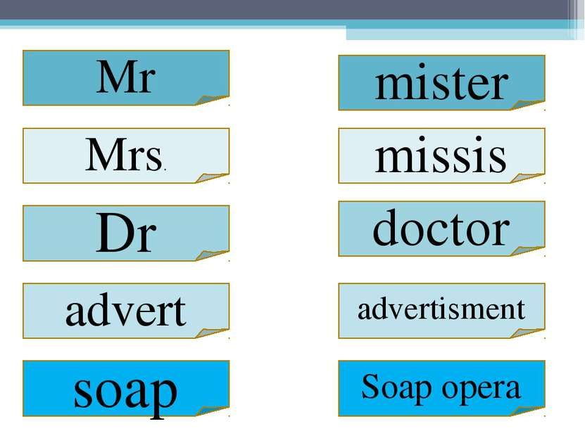Mrs. mister missis Dr doctor advertisment advert Soap opera soap Mr