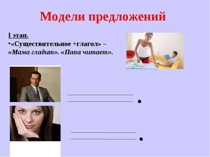 Модели предложений I этап. «Существительное +глагол» – «Мама гладит». «Папа ч...