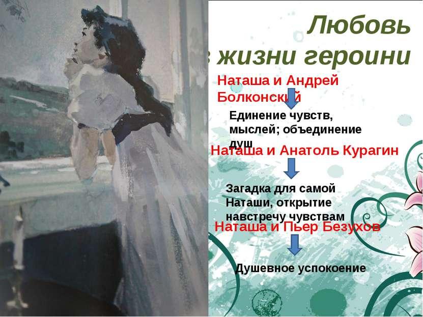Любовь в жизни героини Наташа и Андрей Болконский Единение чувств, мыслей; об...