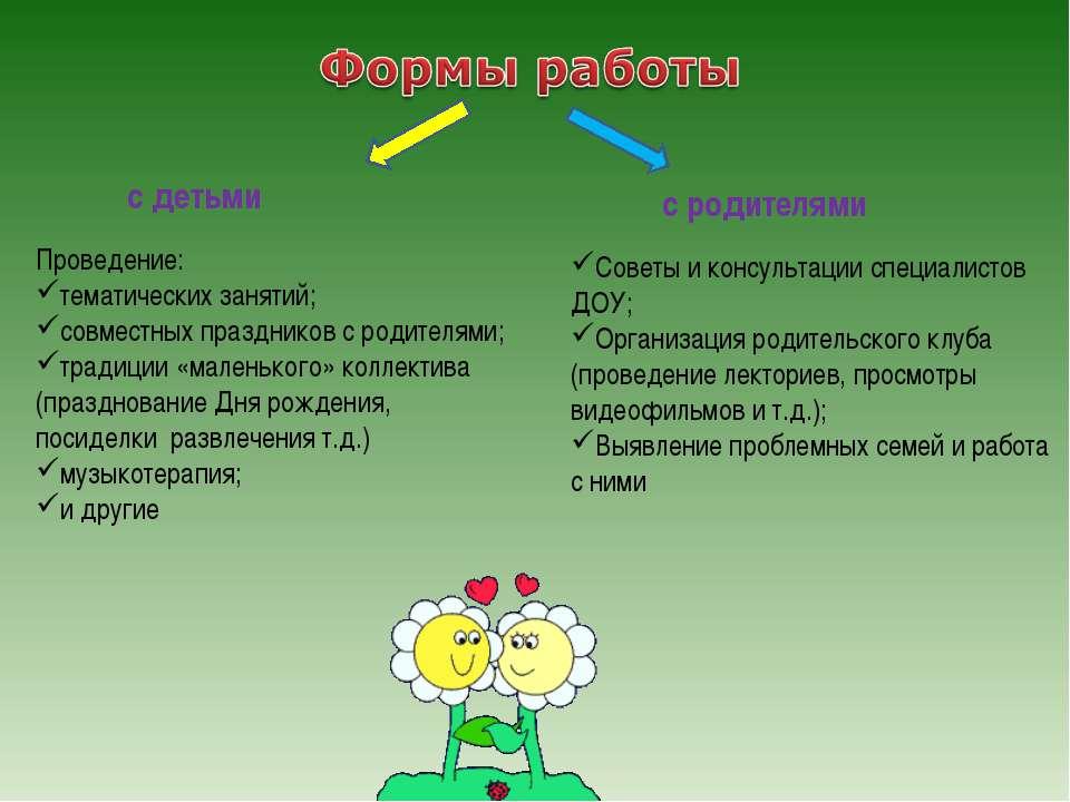с детьми с родителями Проведение: тематических занятий; совместных праздников...