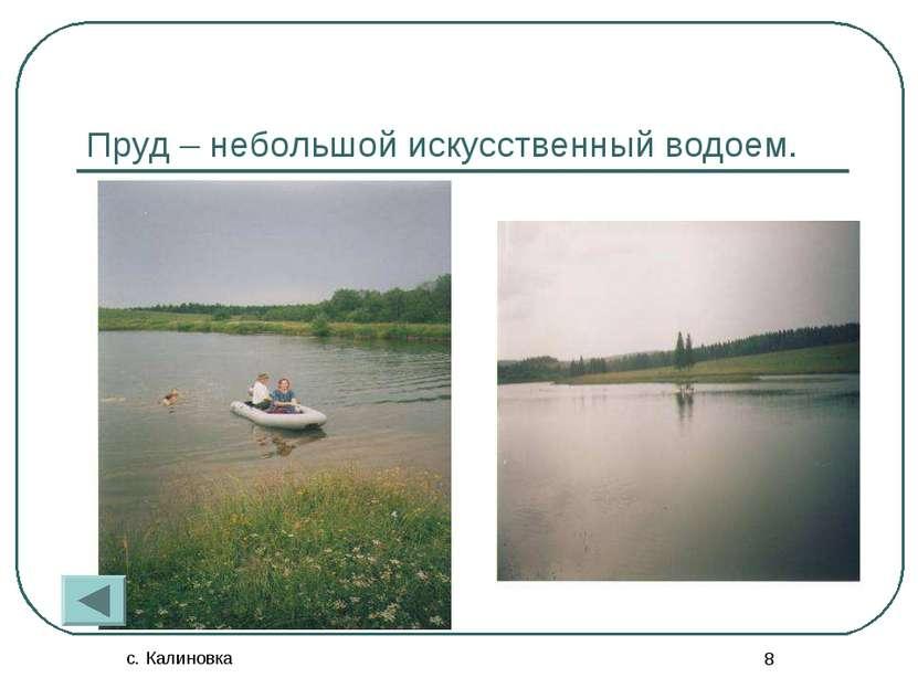 с. Калиновка * Пруд – небольшой искусственный водоем.