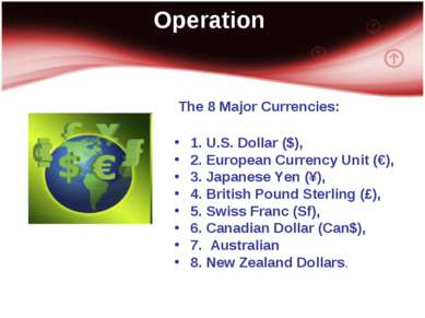 Operation The 8 Major Currencies: 1. U.S. Dollar ($), 2. European Currency Un...