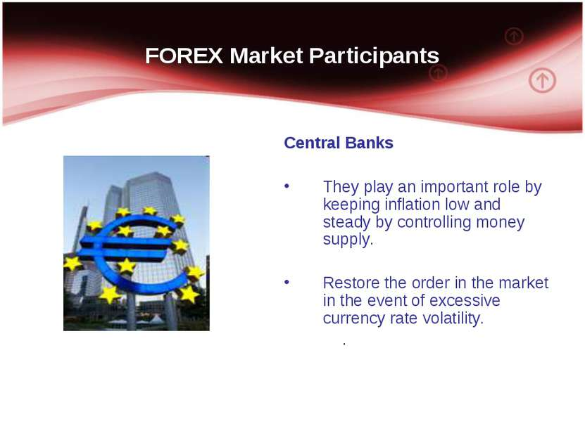 FOREX Market Participants Central Banks They play an important role by keepin...