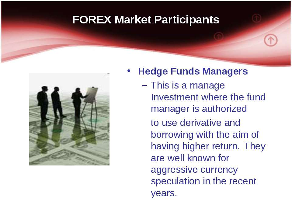 FOREX Market Participants Hedge Funds Managers This is a manage Investment wh...