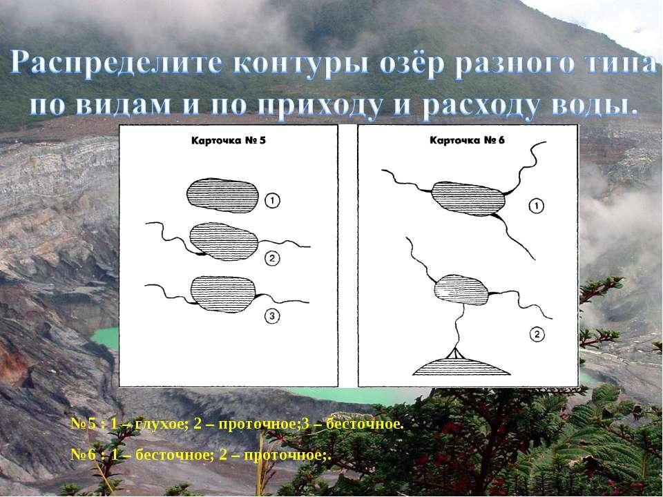 №5 : №6 : 1 – глухое; 2 – проточное; 3 – бесточное. 1 – бесточное; 2 – проточ...
