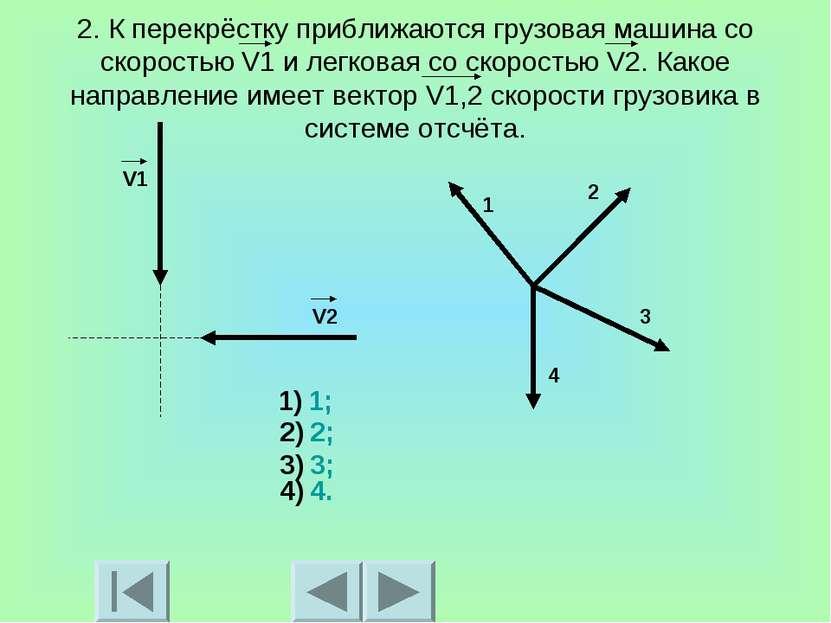 2. К перекрёстку приближаются грузовая машина со скоростью V1 и легковая со с...