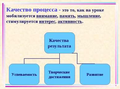 Качество процесса - это то, как на уроке мобилизуется внимание, память, мышле...