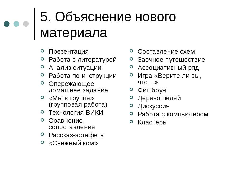 5. Объяснение нового материала Презентация Работа с литературой Анализ ситуац...