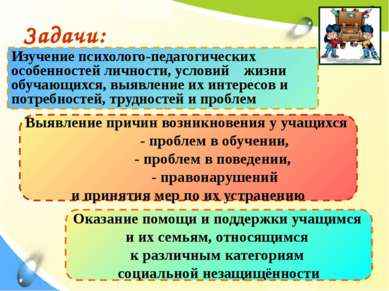 Задачи: Изучение психолого-педагогических особенностей личности, условий жизн...