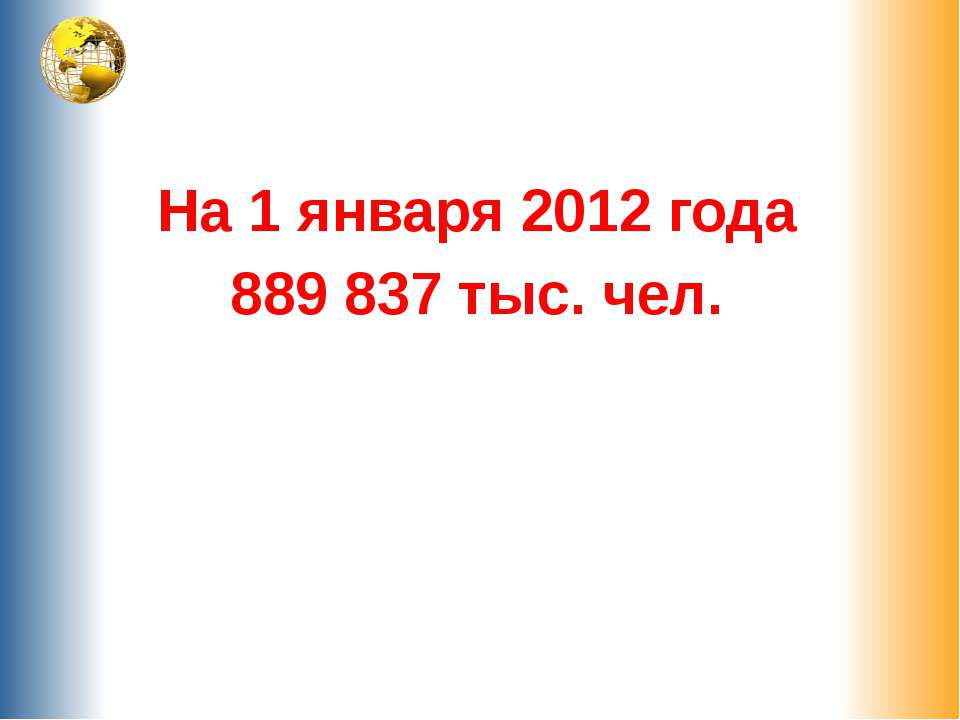 На 1 января 2012 года 889 837 тыс. чел.