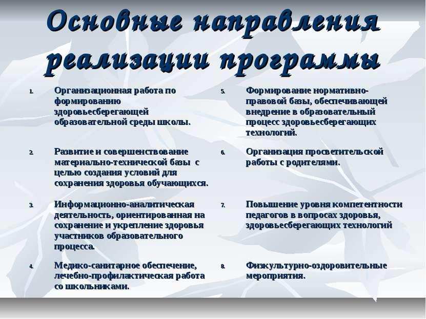 Основные направления реализации программы