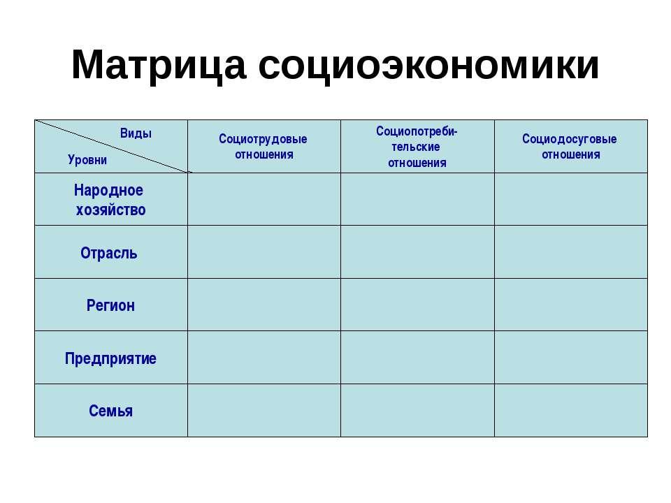 Матрица социоэкономики Социотрудовые отношения Социопотреби- тельские отношен...