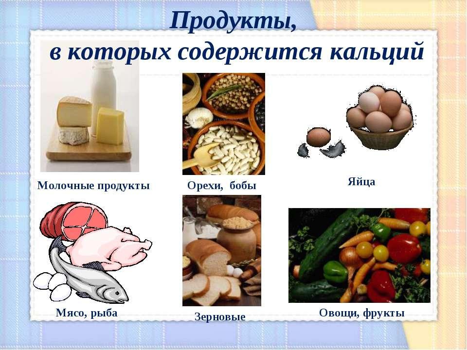 Молочные продукты Мясо, рыба Овощи, фрукты Яйца Орехи, бобы Зерновые Продукты...