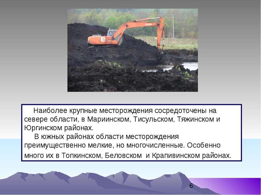 Наиболее крупные месторождения сосредоточены на севере области, в Мариинском,...