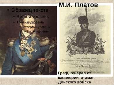 Граф, генерал от кавалерии, атаман Донского войска М.И. Платов